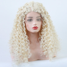 V'NICE Blonde Wig Front Lace High Temperature Fiber Natural Long Kinky Curly Pla