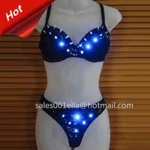Hot Sale LED Luminous Growing Light Up Sexy Bra Underwear Set Costume Suit Women Stage Halloween DS DJ Party Clothes