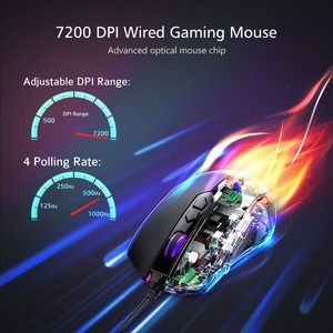 Image 2 - VicTsing RGB Gaming Mouse 8 Programmable Buttons 7200 DPI Adjustable Optical Wired Mouse Game Mice With Fire Button For Gamer PC