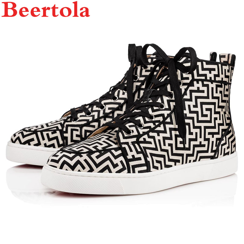 Beertola Luxury Brand Men Shoes Flats Red Bottom Lace-up Solid Unisex Sneakers  Shoes Round 8d8d59dc3d85