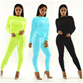 Новые поступления мода 2016 весна осень 2 шт. наборы 4 цветов урожай твердые полный рукавом твердые длинные брюки тренировочные костюмы женщин MQ233
