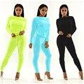 Chegadas de moda de nova 2016 primavera outono 2 peça define 4 cores colheita sólidos completo manga top sólido longo pant suor combina com mulheres MQ233