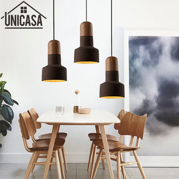Vintage Industrial luz colgante para hotel negro cemento sombra madera bombilla titular Mini iluminación Bar antiguo Mini lámpara de techo colgante