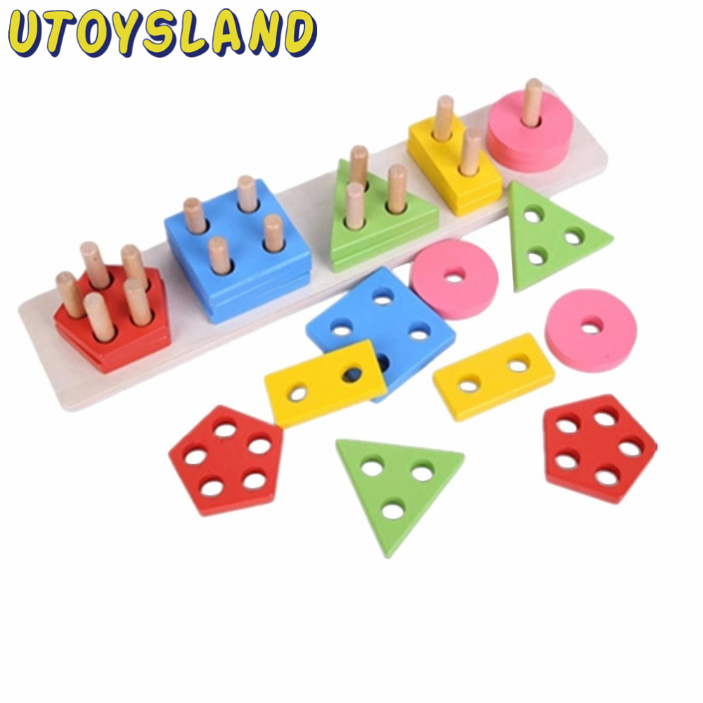 UTOYSLAND Geometric Shape Sorting Board Wooden Stacking with 5 Columns Building Blocks Educational Toy for Baby Kids Children