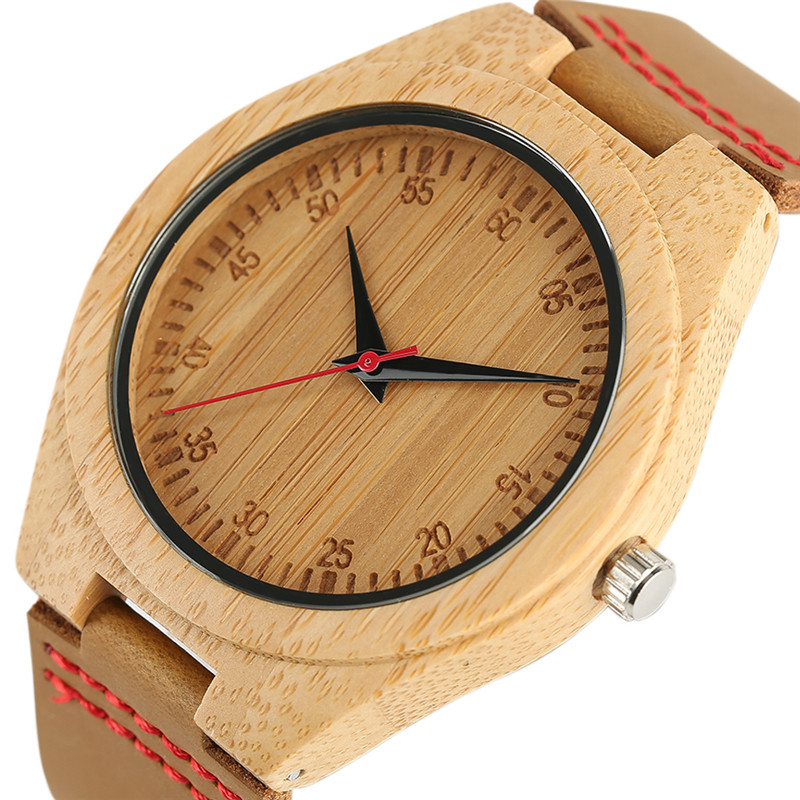 Fashion Mens Bamboo Wood Watch Fashion Casual Gifts Genuine Leather Strap Wrist Watch Wooden Watches Quartz