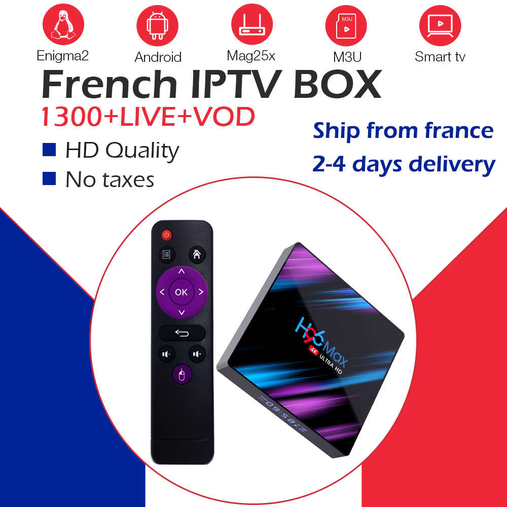 H96MAX RK3318 Android 9.0 TV box + NEO IPTV France arabe belgique NeoTVpro IPTV m3u double Wifi BT4.0 4K décodeur Smart TV box