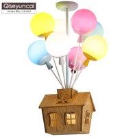 Qiseyuncai детская комната в виде шарика, потолочная лампа мальчик простой Мультфильм Летающий дом творческий Теплый Девушка Спальня Освещение