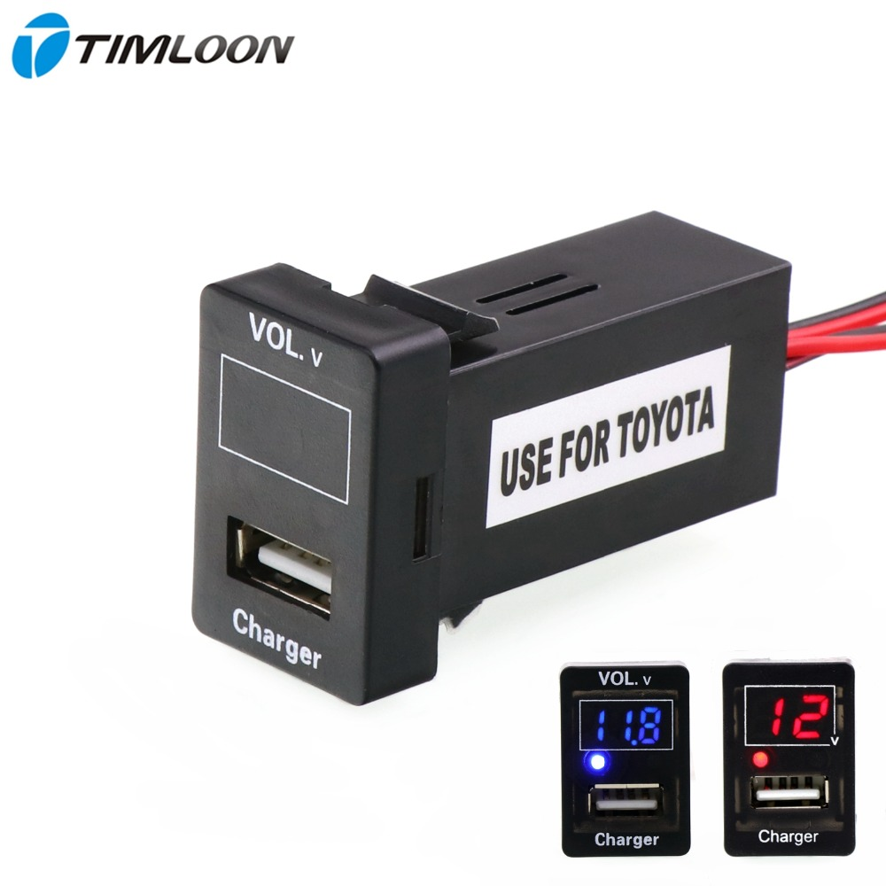 5V 2.1A USB Interface Socket Car Charger and Voltage Meter Battery Monitor Use for TOYOTA,Camry,Corolla,Yaris,RAV4,Reiz,Cruise
