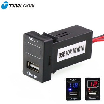 5V 2.1A USB Interface Socket Car Charger and Voltage Meter Battery Monitor Use for TOYOTA,Camry,Corolla,Yaris,RAV4,Reiz,Cruise image