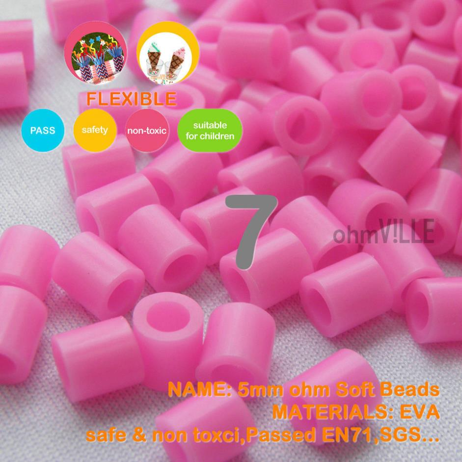 Hot Sale!!! 5mm Soft Flexible Ohm Beads ( Pink Id: 7 ) 90 Colors For ...