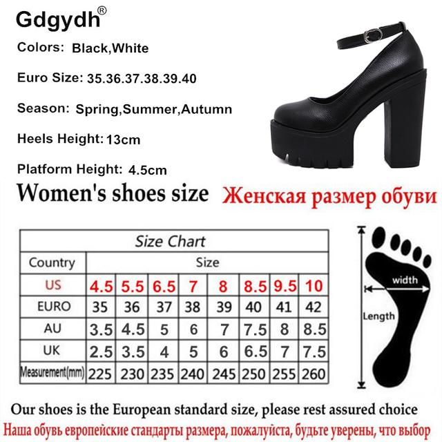 Gdgydh 2017 new spring autumn casual high-heeled shoes sexy ruslana korshunova thick heels platform pumps Black White Size 40