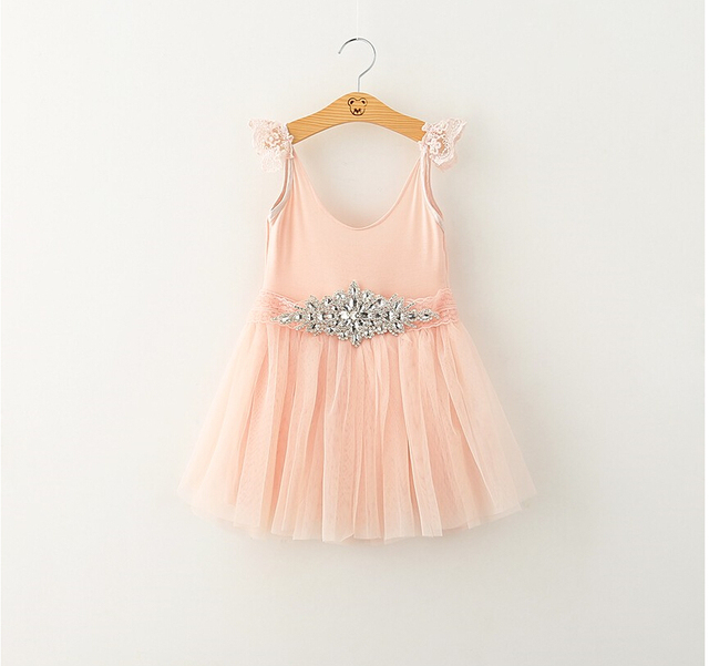 bbcc72794d72 New Kids Baby Fairy Lace Puff Sleeve Tulle Dresses Summer With Belt ...