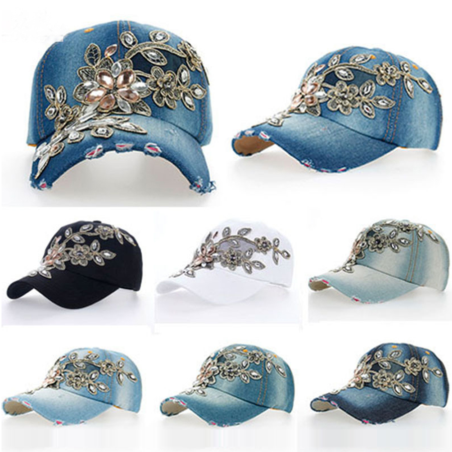 Hot Explosion Manual Diamond Drill Flower Decorated Girls Hat 7 Color Luxury Gold Flower Denim Baseball Cap Drop Shipping Sy323 Women's Hats