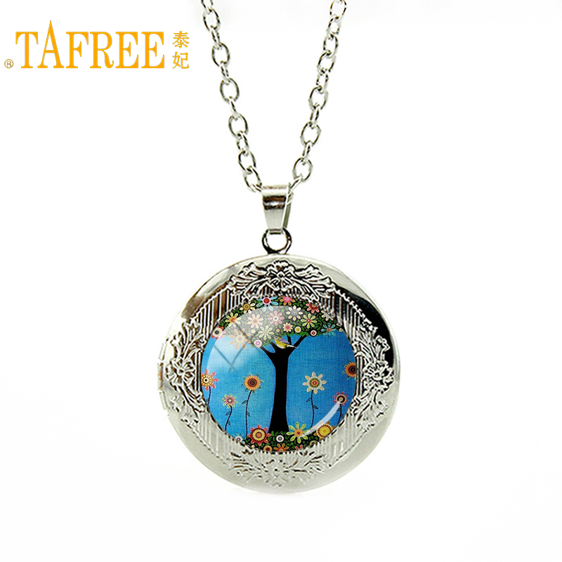 TAFREE Vintage Tree Neaklace colorful tree and flower picture glass gem locket Pendant women men special gift 2017 jewelry A786