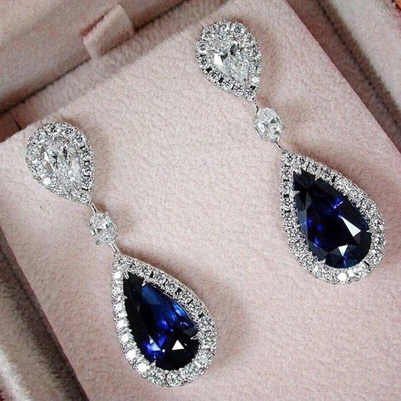2018 Fashion Boho Drop Shape Pendant Blue Crystal Earrings For Women Jewelry Silver Engagement Party Earrings
