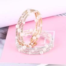 Bohopan 2019 Fashion Summer Women Elegant Bracelets Shine Rhinestone Gold/Silver Color Bangles Pearl Bracelet For Gift
