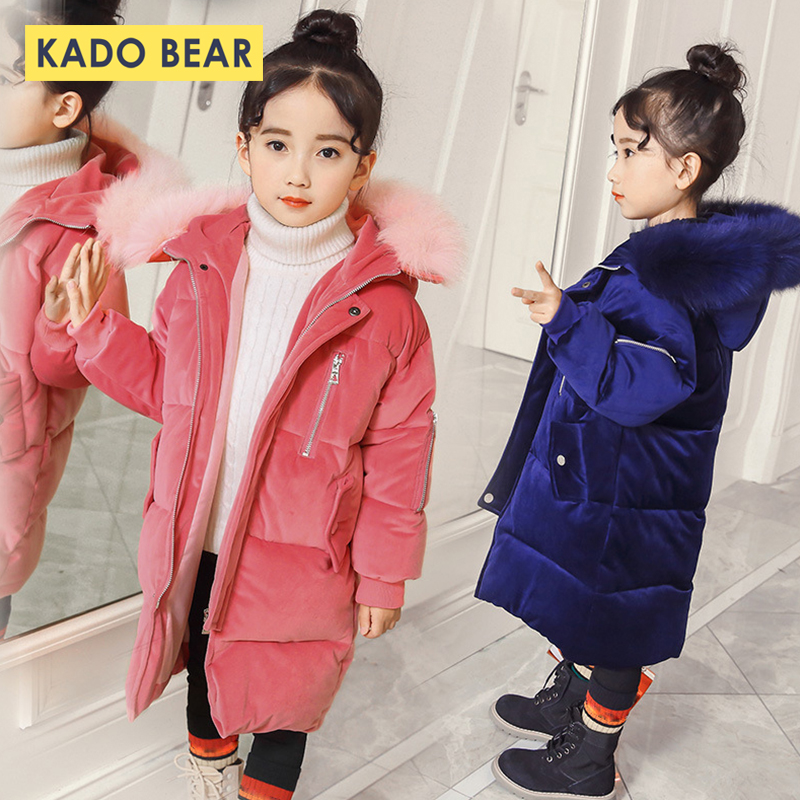 2018 New Winter Girls Coats Baby Boy Hooded Fur Collar Kids Down Jackets Thick Long Sleeve Warm Clothes Fashion Cute Outerwear baby boy s fashion hooded coats 2017 winter cartoons little monster cute long sleeve jackets children s clothing warm outerwear