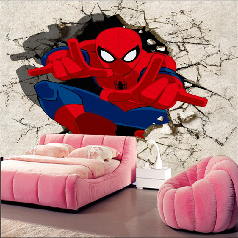 Spiderman Wallpaper For Bedroom: Large Theme Murals 3D Personality Three Dimensional Game