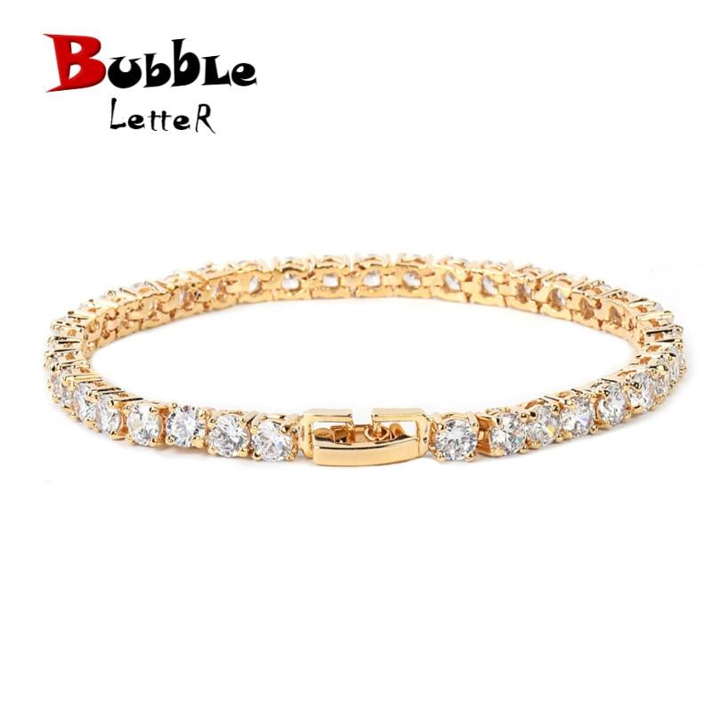 Iced Zircon Tennis Chain Bracelet Men's Hip Hop Jewelry Copper Material Gold Silver Rose Color Box Clasp CZ Bracelet Link 18.5cm
