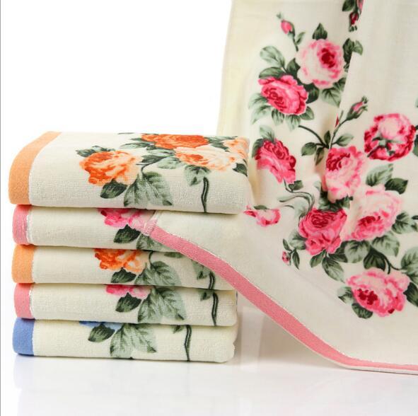 34*74 cm cotton printed face towel Bathroom Flower Bath Towel flower bath towels bath towelface towel - AliExpress