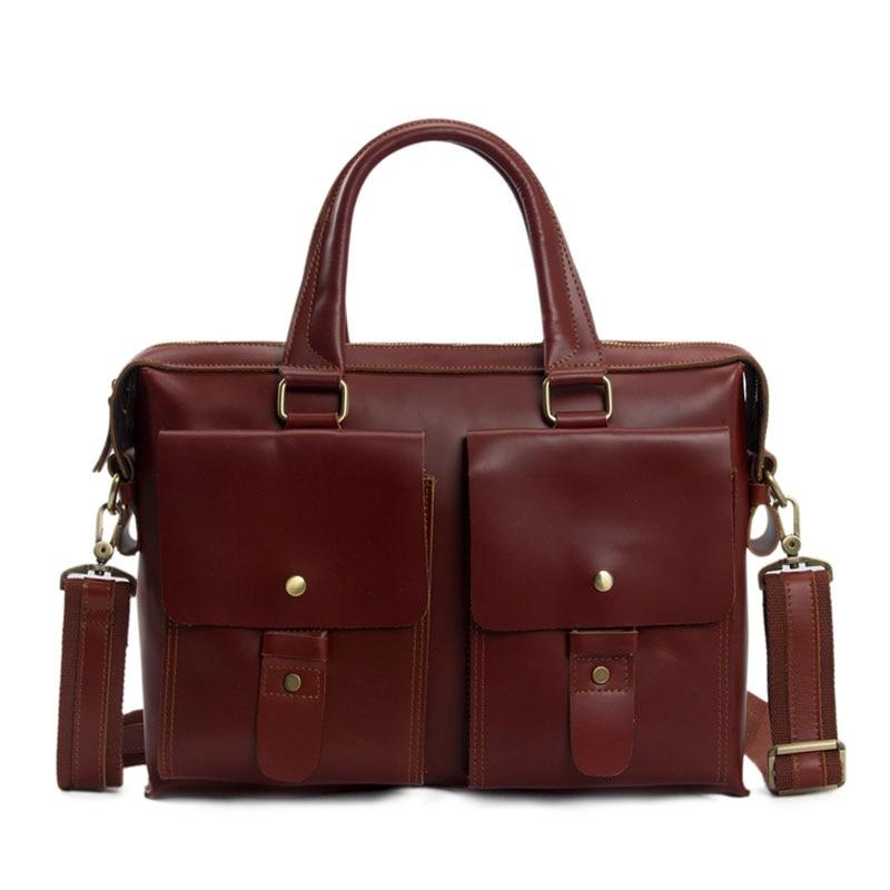 ROCKCOW 14 UNISEX Genuine Leather Briefcase Messenger Bag font b Laptop b font Bag 7001R