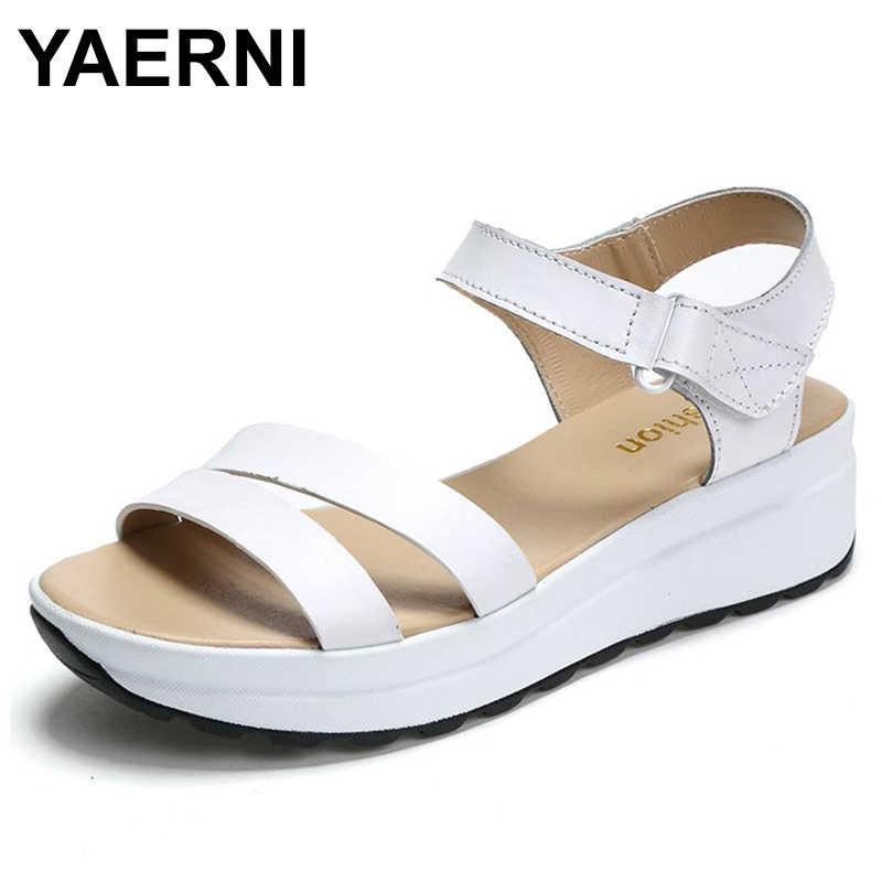 YAERNI  Women Sandals Genuine Leather Sandals Low Wedges Summer Shoes Female Peep Toe Platform Sandals Women Casual Shoes