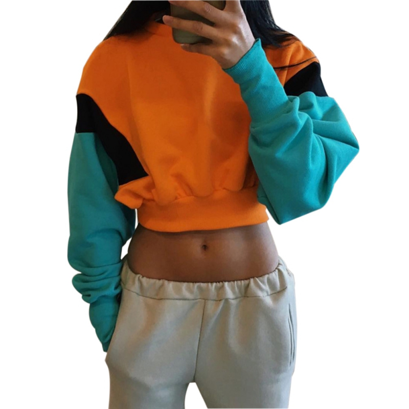 Women Spring Autumn Candy Color Hoodies Long Sleeve Loose Crop Top Sweatshirt Casual Patchwork Cloth Pullover Top P2