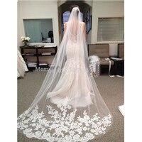 Wuziyi White long Elegant Wedding Veil 2017 New Design Bridal Veil lace Applique cathedral wedding veil for wedding occasion