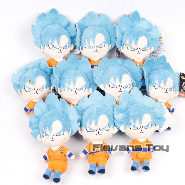 Dragon Ball Z Super Saiyan Son Goku Majin Buu Vegeta Piccolo GodSS Cabelo Azul Anime Dos Desenhos Animados Brinquedos de Pelúcia Bonecas 10 pçs/lote