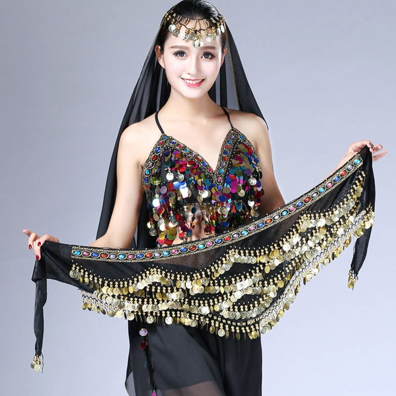 Belly Dancing Belt 2018 New Style Coins Belly Dance Waist Chain Hip Scarf Performance Costume Accessories Diamond For Women