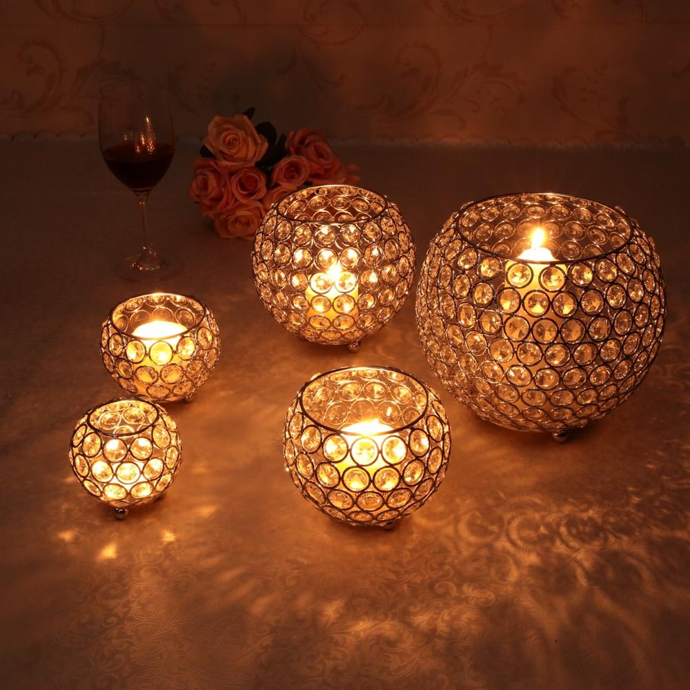 Gold Crystal Candle Holder Metal Votive Wedding Centerpieces