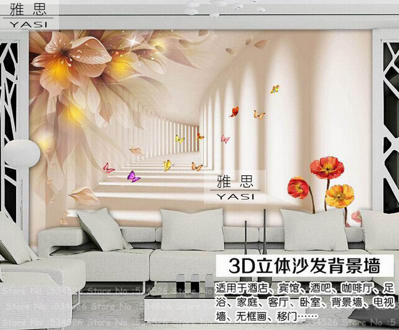 Stencil 3d Per Pareti.Us 29 98 3d Floral Wallpaper Photo Wallpaper Mural Environmental Stencils For Walls Wall Paper The Fairy Tale Background Homedecoration In