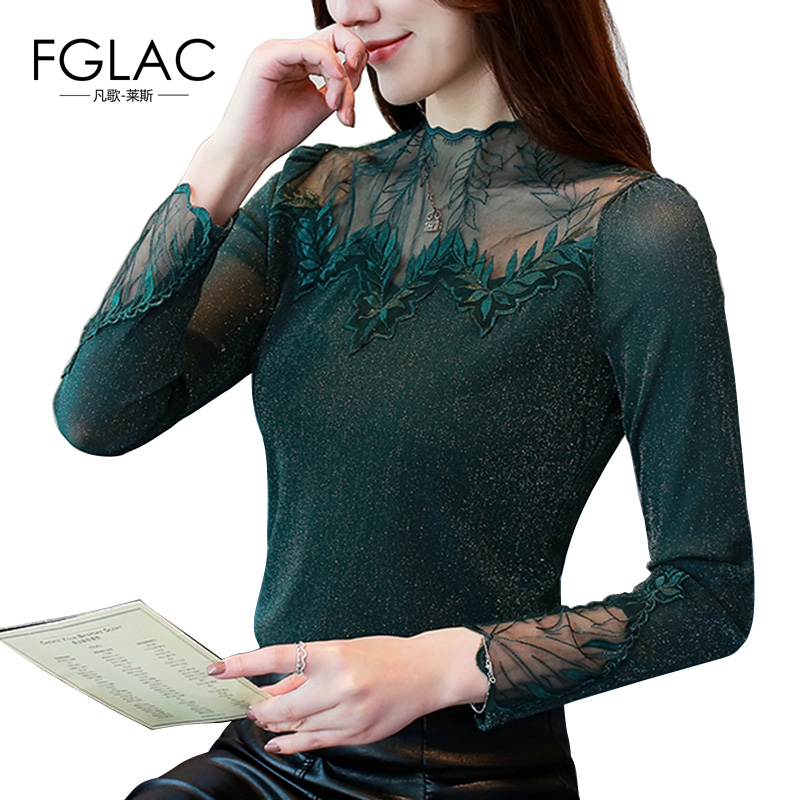 FGLAC Women   blouse     shirt   New Fashion casual long sleeve Mesh tops Elegant Slim sexy Hollow out Lace tops plus size blusas