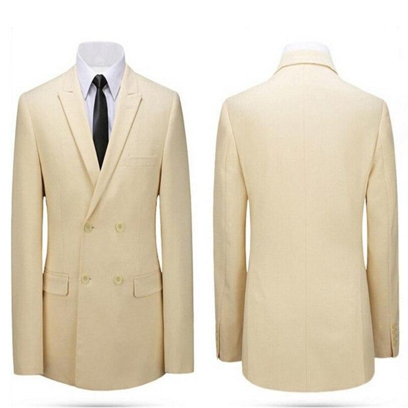 Пиджак бежевый двубортный пиджак с лацканами мужской пиджак заказ свадебные жених платье Мужская Куртки