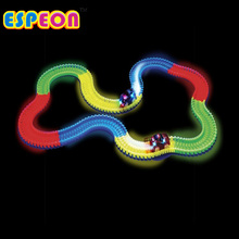 Espeon New Miraculous Glowing Race Track Bend Flex Flash in the Dark Assembly Car Toy 18ft Glow Racing Track Set + 2pc LED Cars