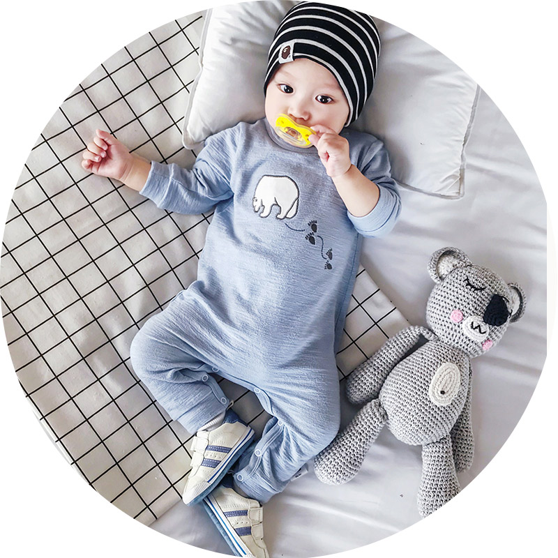 Baby boy clothes Blue Pink Yellow long sleeve cute suit toddler girl spring summer clothing Baby Bear rompers Newborn jumpsuit