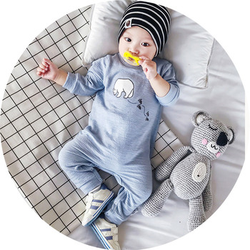 Baby boy clothes Blue Pink Yellow long sleeve cute suit toddler girl spring summer clothing Baby Bear rompers Newborn jumpsuit одежда на маленьких мальчиков