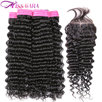 Miss Cara Brazilian Deep Wave 3/4 Bundles With Free/Middle Part Closure 100% Human Hair Bundles With Closure Remy Hair Weaves