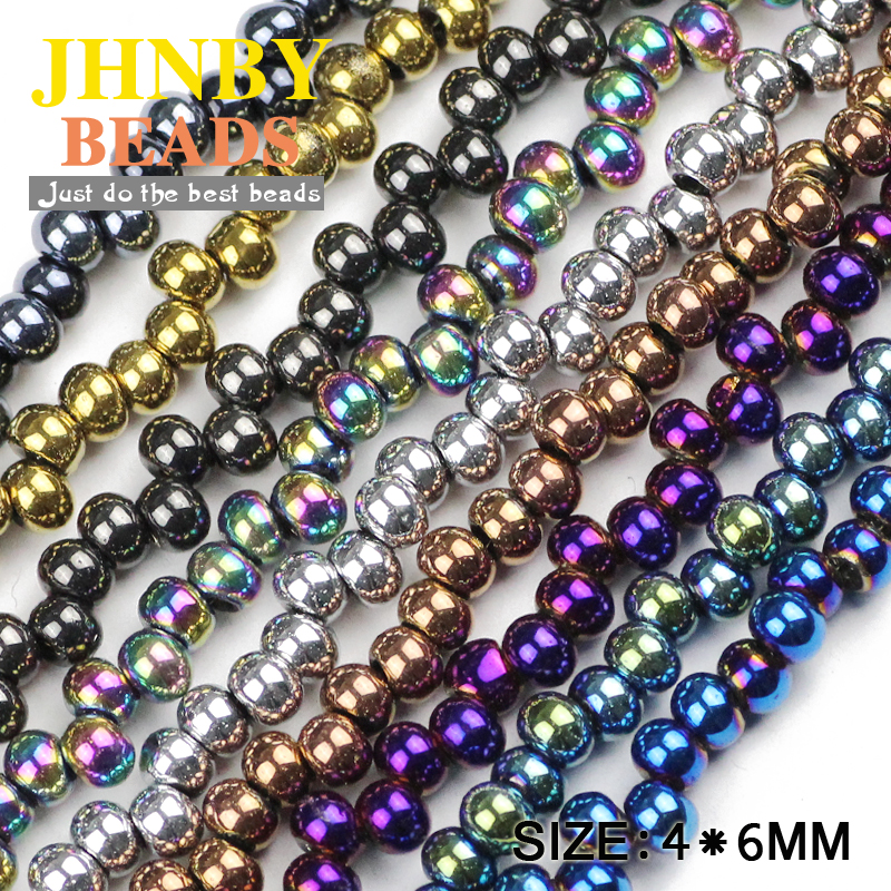 JHNBY Earrings ball Austrian crystal beads 4x6mm 100pcs plated color Round Loose beads Jewelry bracelet accessories making DIY in Beads from Jewelry Accessories