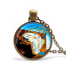 Steampunk Alice in Wonderland Salvador Dali clock watch necklace jewelry pendant necklace Gift Women Men Chain fashion vintage