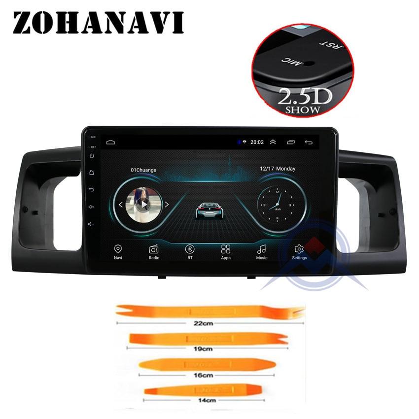 ZOHANAVI 2 5D Screen Android car multimedia player dvd GPS auto Radio for toyota Corolla E120