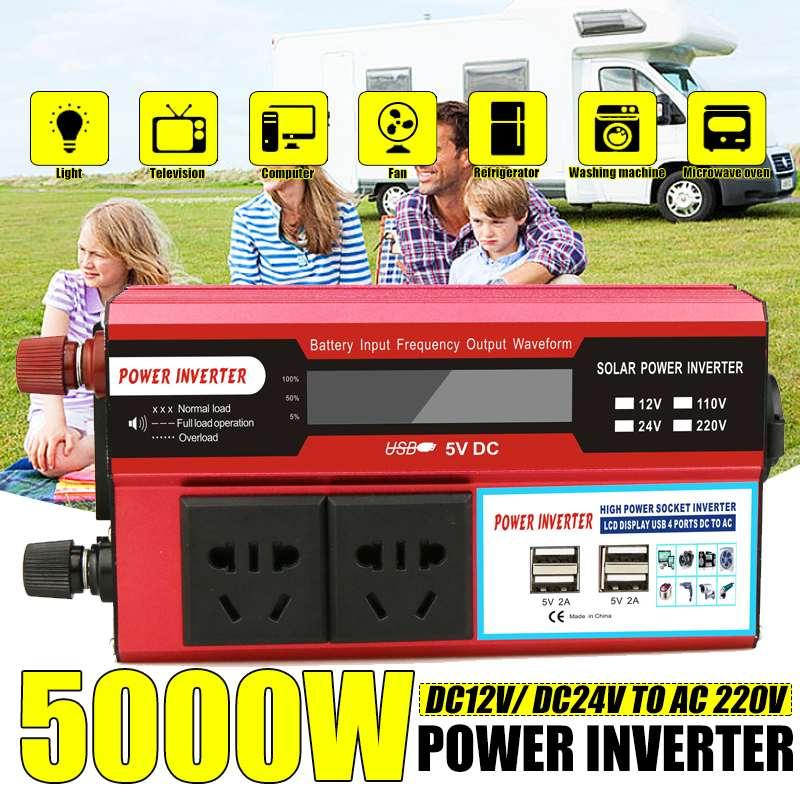 5000 W Watt 4 USB LCD affichage DC 12/24 V à AC 220 V voiture onduleur chargeur convertisseur adaptateur à onde sinusoïdale modifiée transformateur