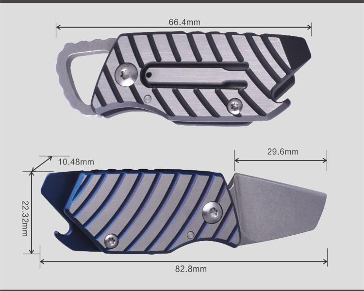 Купить с кэшбэком Titanium Out Of The Box D2 Steel Blade Mechanical Knife EDC Folding Outdoor Multi-function Key Ring Opener Portable