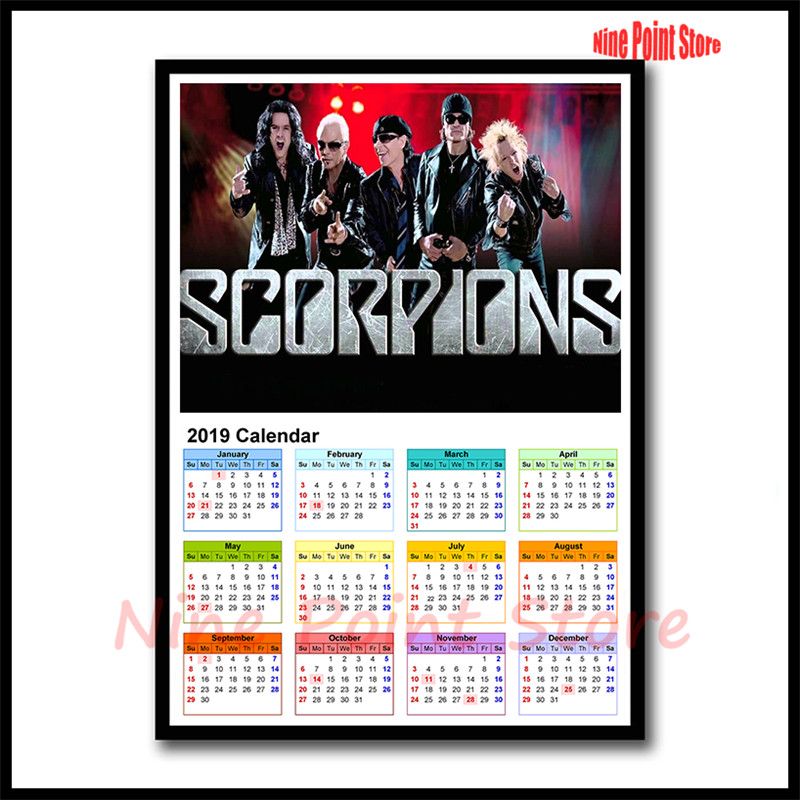 2019 Calendar Coated paper Rock band poster Good Quality Prints Wall  Posters Room Decorative Wall Stickers 42*30cm