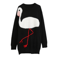 SPRING New Autumn Luxury Flamingo Embroidery Women Elegant Design Pullover Wool Loose Knitted Dress Runway High