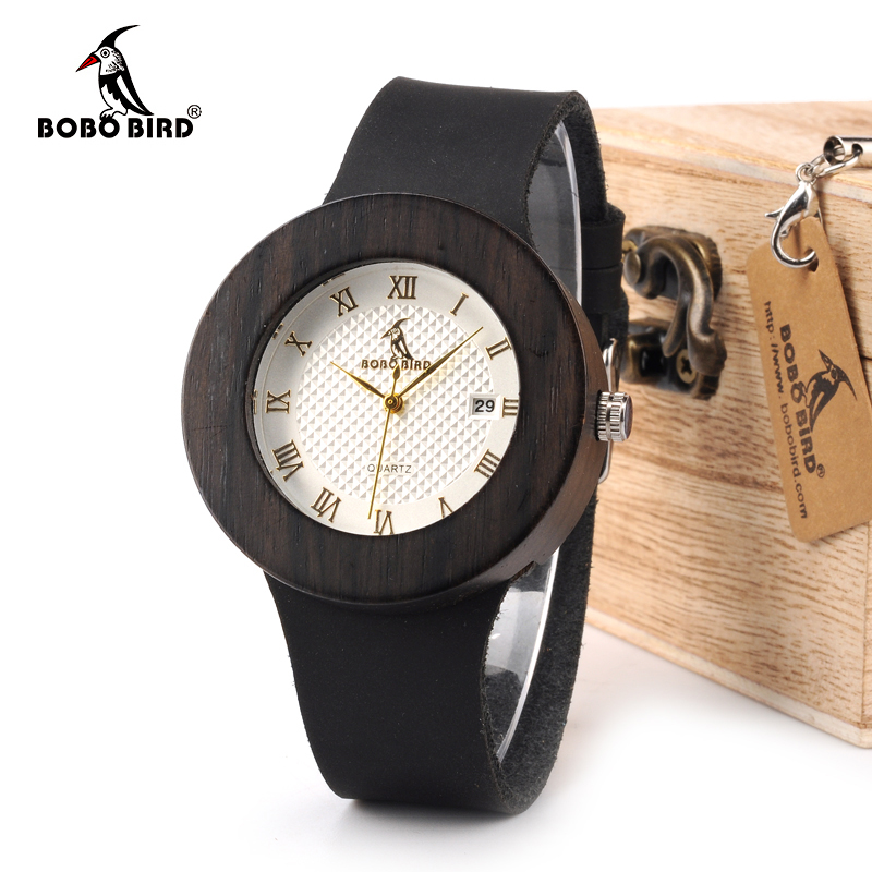 BOBO BIRD WC02C03 Black Wooden Watch Soft Leather Strap Metal Scale Face Analog Calendar Quality Miyota Movement in Gift Box bobo bird brand new sun glasses men square wood oversized zebra wood sunglasses women with wooden box oculos 2017