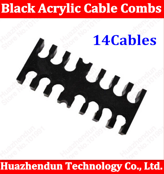 High Quality Black Acrylic Cable Combs for 3mm Cables 14(6+8)  Cable Comb Free shipping 14pin chuxin solid wood 3 anti static combs kit with cask 3 sizes beech combs with massage function for scalp oval sculpt