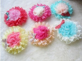 2018  100pcs Korea popular girls jewelry wholesale children the elegant chiffon flowers hollow hairpin hair trim clip brooch