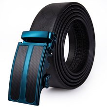 PD-2085 UK Shipping Brand Men Belt Automatic Genuine leather Black Business Style Fashion Blue Ratche Buckle Belts for Waist