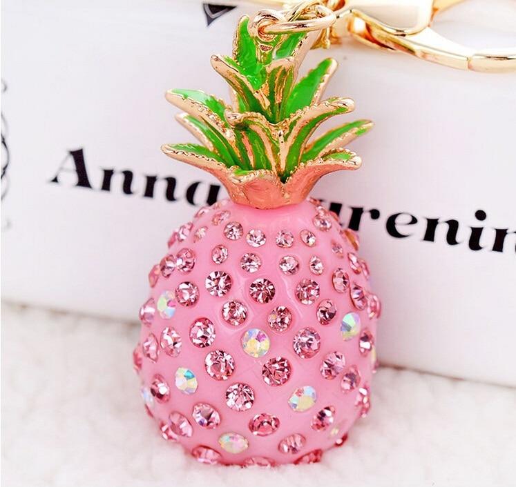 Droshipping Creative Novelty Green Pink Keychains 3D Resin Pineapple Rhinestone Pendant Keyring Charm Trinket For Women